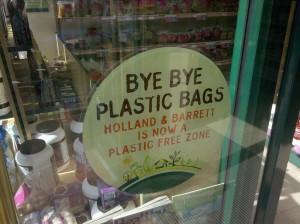 Holland & Barrett - Bye Bye Plastic Bags sign
